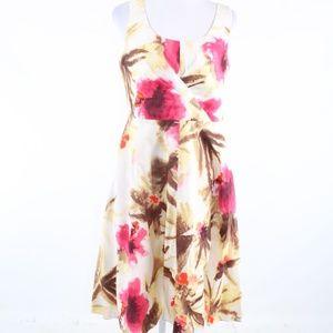 Talbots ivory brown floral print A-line dress 10